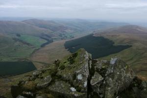 Looking back to Tomle, Foel Wen and Mynydd Tarw from Cadair Berwyn